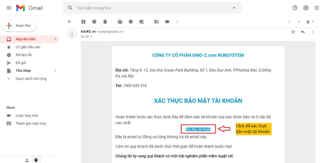 xác thực bảo mật tài khoản đăng ký Kaike