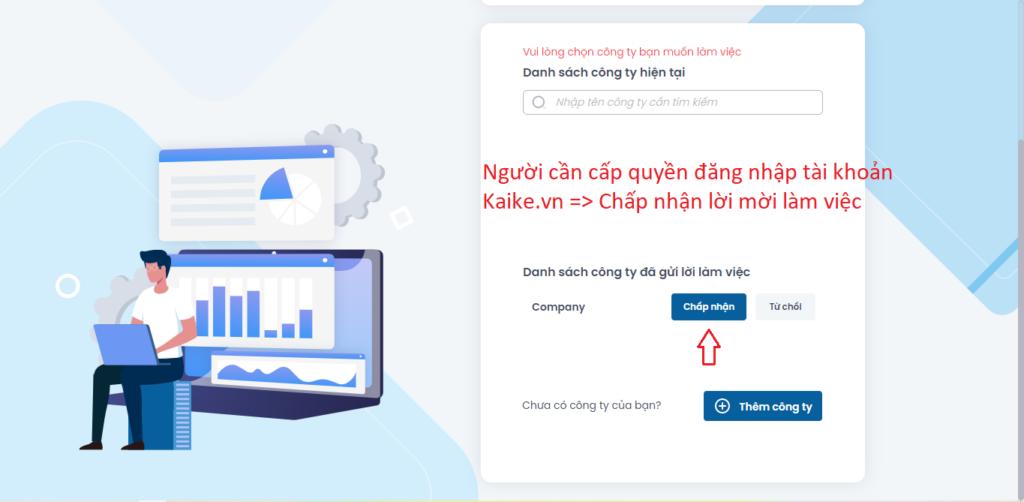 hướng dẫn cấp quyền đăng nhập tài khoản Kaike